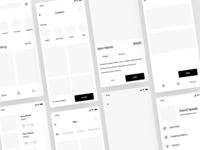 Wireframes for shopping UI kit