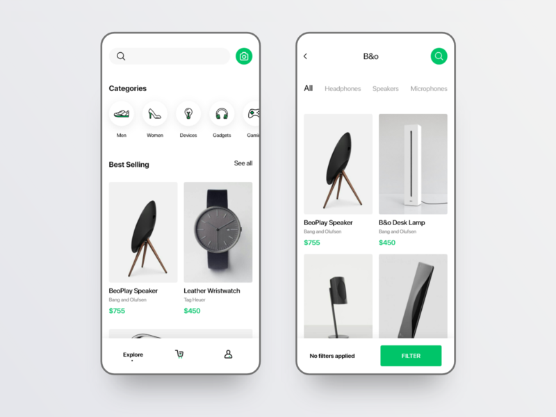 Explore Screen for shopping app UI kit clean fashion app store shop app mobile app dailyui minimal app minimal e commerce shopping ios ui kit kit ui app design