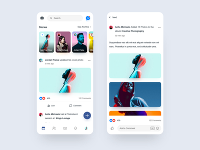 Facebook Mobile App Redesign Concept facebook app stories messenger clean redesign comments social app dailyui facebook minimal ui ios app design