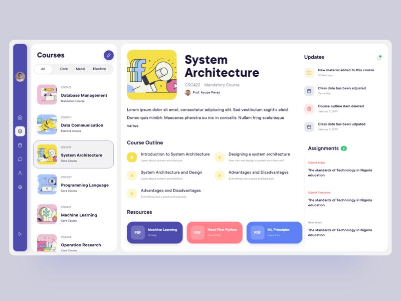 Student Web App - Courses student app course app learning platform learning app academic student web app dashboard daily ui web minimal ios app design