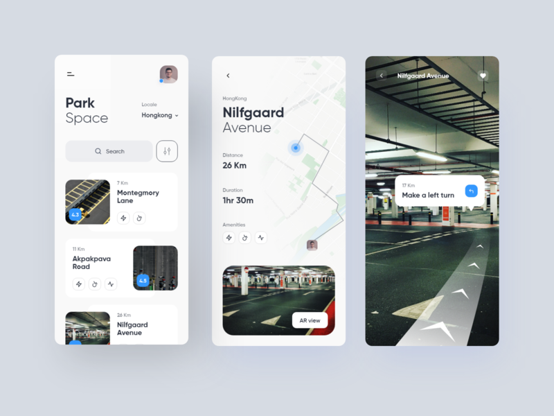 Parking Space app parking location app clean daily ui app ios design space booking parking lot parking app