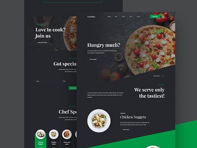 Foodista Food Website dark chef meal clean web design daily ui minimal online store website food resturant website concept