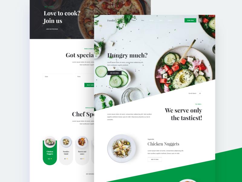 Food Website - Light version ui meal restaurant landing page daily ui web design clean minimal website foodie food