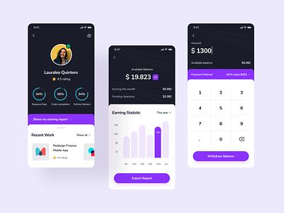 Freelance Report Exploration app app design illustration icon ui design statistic chart ios android mobile app minimal clean payment finance report freelance uiux