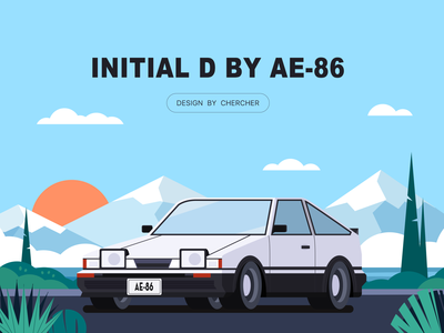 INITIAL D BY AE-86 design illustration