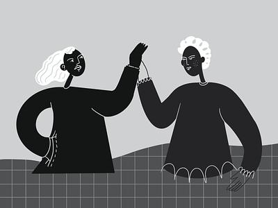 High-five salute 👋 highfive illustration blackandwhite