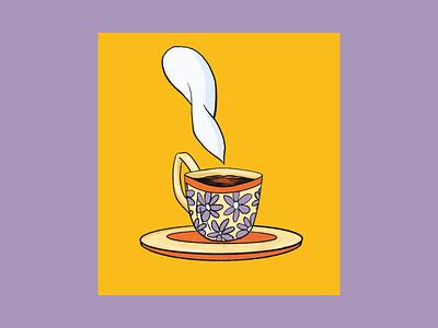 GOOD MORNING ☀️ waiting purple daisy flowers cup coffe illustration