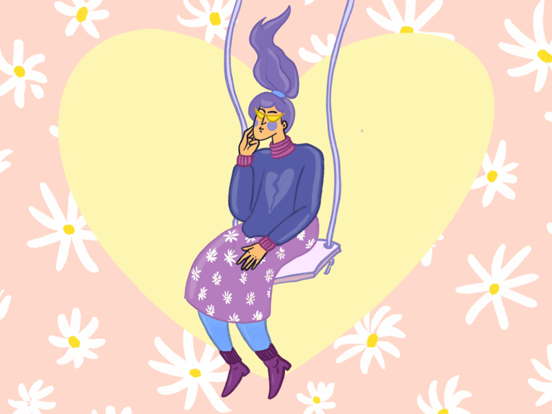 Lady swinging with flowers  🌺 🌼 🌺