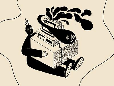 TV Ghost - intervention 👻 boy clouds shapes black beans monochrome sitting tv dark dark matter pattern ghost blackandwhite illustration