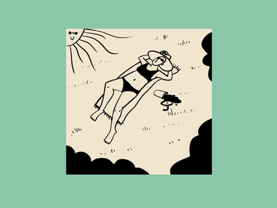 I miss tanning ☀️ green grass dribbble love happy perspective shadows sunglasses summer tanning laying juice outside sunny sunny day nature shapes lady blackandwhite illustration