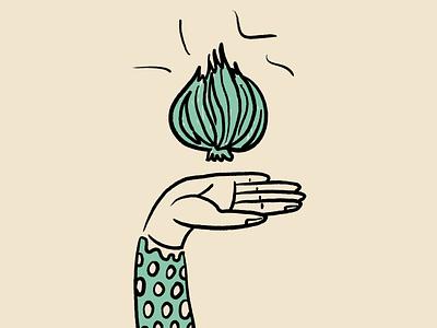 Garlic or Onion Levitation 🧄+ 🧅 dots greens bio eco nature levitation hand vegetables onion garlic green illustration