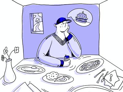 🍔 ? isolation quarantine cap man dinner dinning table flowers windows options food hamburger design purple boy illustration