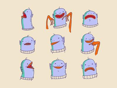 Monsters 👹 sketch bold purple orange 2d character ufo alien monster