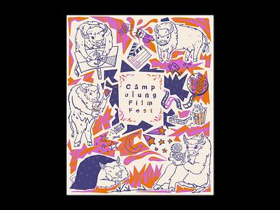 CFF5 🎥 🍿 🎞 filmroll soda moviestar stars pattern sky contrast orange bison fetsival movie film branding purple character shapes blackandwhite illustration