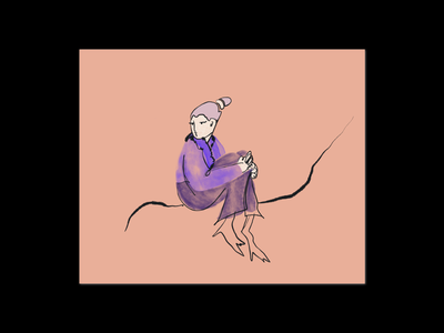 14:15 ⏰ print marker procreate drawings free texture pattern lines waiting sitting girl purple character lady shapes illustration