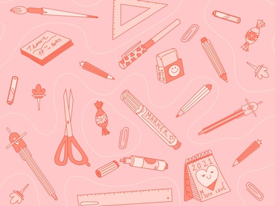 Pattern Time pattern shapes star design love heart cut scrissors smile candy brush tool pen pencil school red pink illustration