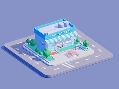 convenient store illustration blender 3d