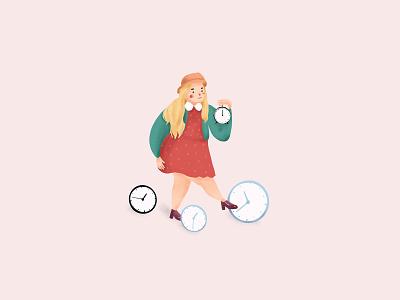 Girl & Time illustration