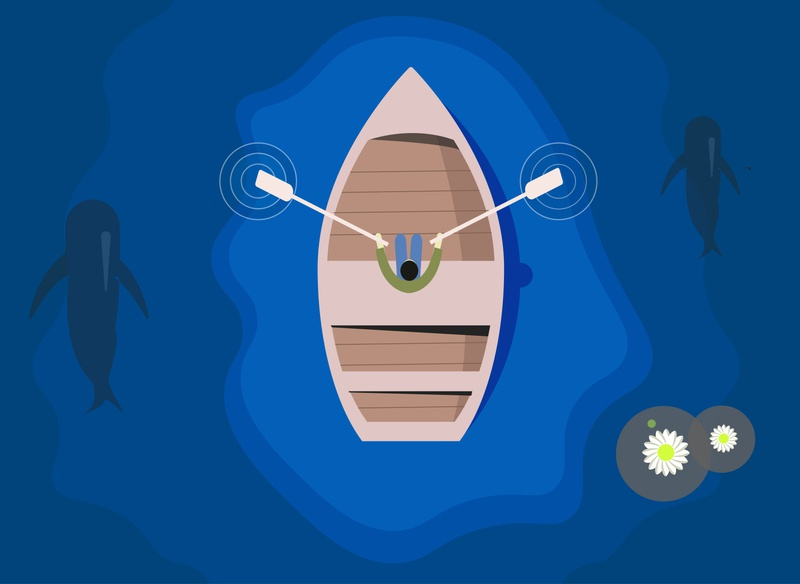 Man sits in boat and padding design vector illustration ui minimal flat app graphic design art padding man boating boating