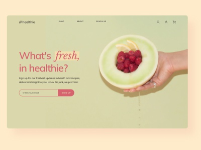 Landing Page Design for Health Food Store yellow health app website pink green pastel colors pastels lifestyle healthy food healthy hero section hero banner landing page landing page design website design webdesign web design web
