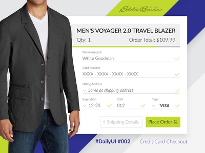 Daily UI 002 ui design interface checkout credit card 002 daily ui