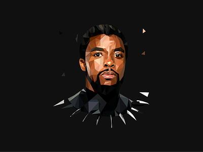 Lowpoly Art of Chadwick Boseman as Black Panther illustrator lowpolyart lowpoly