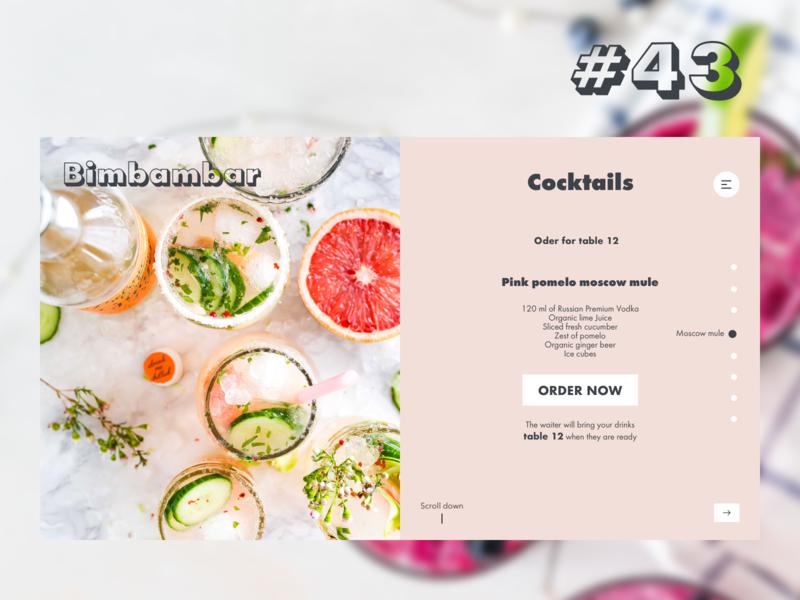 Daily UI Challenge #043 futura cocktail menu cocktail bar website web ux sketch dailyui ui design