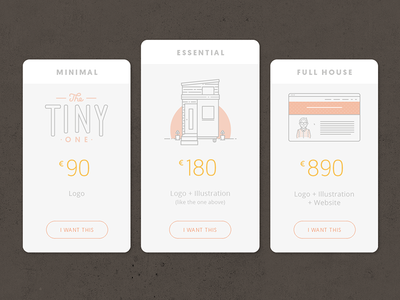 Price table with illustrations house tiny modern clean illustration line design web ui