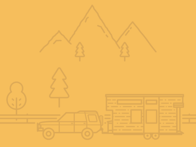 Tiny House Illustration - WIP tiny house line work mountains car clean minimalistic illustration
