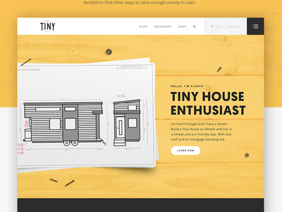 The Tiny One - Website UI  [ part I ] ui web clean design line illustration typography tiny house personal project