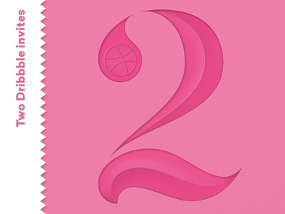 🎟  Two dribbble invites! - Endend ‼️ 🎉 pink elegant invite dribbble typography two number lettering