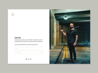 Azam Jaafri - Landing Page landing page sketch figma gold monogram form investor startup web ui