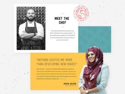 OMGN Homepage - Team badge pattern section team brand food muslim front-end design homepage web ui