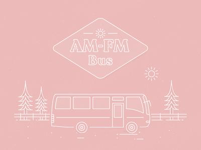 AM-FM Bus logo maker builder outdoor badge camper rugged minimalism tinyhouse branding line linework typogaphy logo