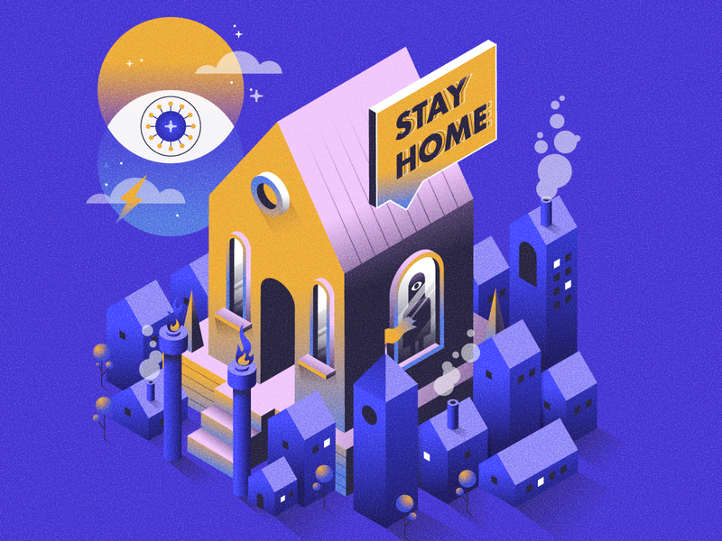 STAY HOME geometric art geometry stayhome graphicdesign vector illustration vector art vector design gradient color flat design flat isometric illustration isometric design isometric art isometric illustration