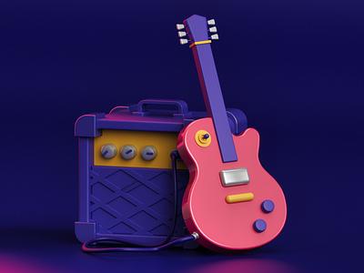 Guitar amplifier rock guitar maxonc4d c4d flat illustration flat design isometric illustration isometric design isometric graphicdesign design designer modeling rendering 3d art 3d vector illustration inspiration