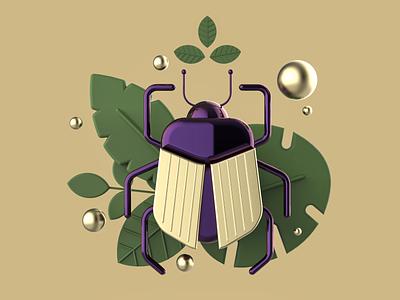 Beetle nature bugs golden gold flat illustration flatdesign beetle graphicdesign design art c4d maxonc4d cinema4d 3d artist 3d art 3d vector illustration design inspiration