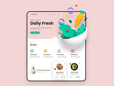Daily Fresh website design landing page design landing design landing salads salad webdesign web uxdesign user interface interface design ui design interaction ux app design ui inspiration