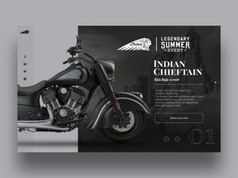 Indian cheftain motocycle indian website design web design web visual ux user interface ui design ui technology minimalist landing page interface interaction inspiration icon app design app concept