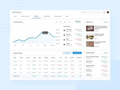 Google Finance Redesign Concept material portfolio concept redesign interface dashboad product design statistics stocks finance google product ux ui design data