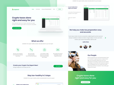 Landing Page for Coqonut interface dashboard trendy green web uiux ux development front end crypto cryptocurrency homepage web design website ui product design