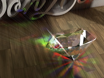 diamond render light wood render c4d photoshop personal digital-art 3d