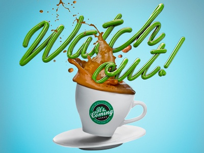 Watch out! Coffee Render coffee cafe personal photoshop branding digital art art direction render c4d cinema