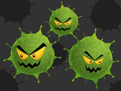 Cartoon virus character vector illustration