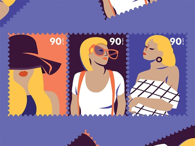 Stamps fashion character illustration stamp