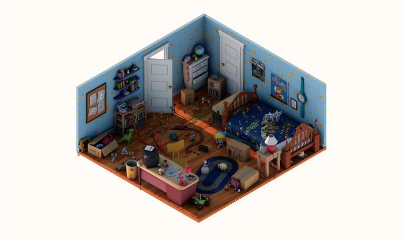 ANDY'S ROOM c4dart 3d isometric toy story pixar