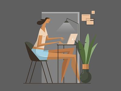 ... at home illustrator adobe vector girl design character illustration