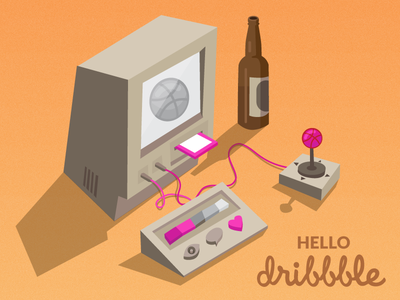 Dribbble Video Game Console beer ball 2d illustrator vector console dribbble hello illustration