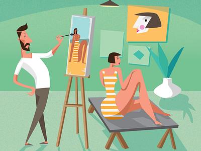 Painter character painter explainer adobe illustrator illustration vector