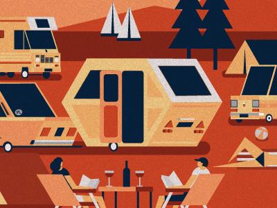 Auto Camp design flat illustrator illustration fiat cars camping camper